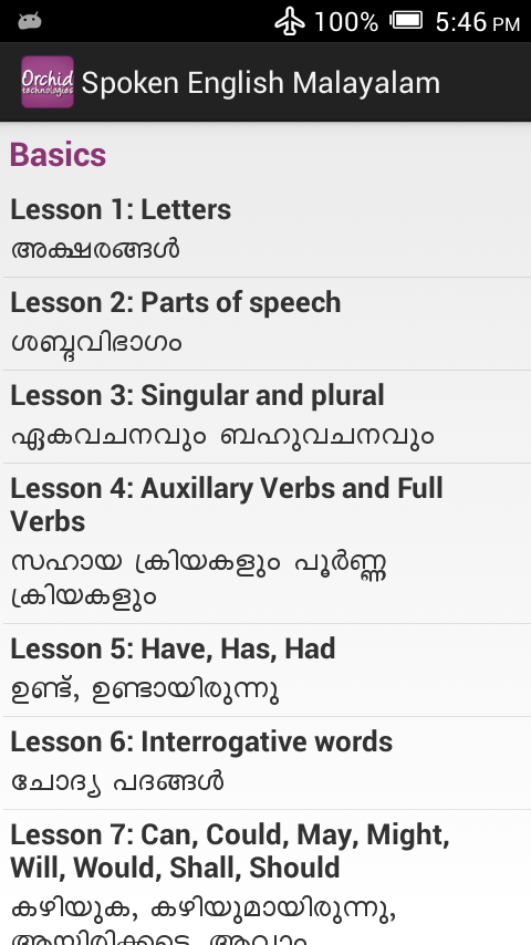 Spoken English Malayalam App for Android