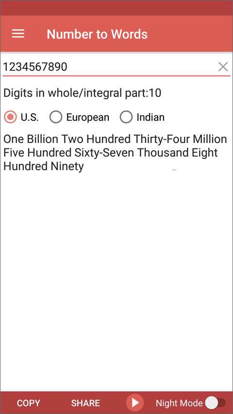 Number to Words Converter App for Android